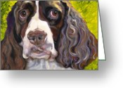 Canvas Drawings Greeting Cards - Spaniel The Eyes Have It Greeting Card by Susan A Becker