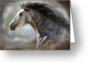 Equine Mixed Media Greeting Cards - Spanish Beauty Greeting Card by Carol Cavalaris