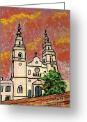 Religious Building Greeting Cards - Spanish Church Greeting Card by Sarah Loft