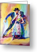 Featured Artist Painting Greeting Cards - Spanish Dance Greeting Card by David Lloyd Glover