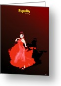 Gipsy Greeting Cards - Spanish dancer Greeting Card by Joaquin Abella Ojeda