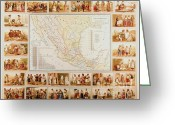 Central Drawings Greeting Cards - Spanish Ethnographic Map Greeting Card by Pg Reproductions