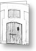 Destinations Digital Art Greeting Cards - Spanish Fort Door Castillo San Felipe Del Morro San Juan Puerto Rico Prints Black and White Line Art Greeting Card by Shawn OBrien