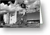 Pueblos Greeting Cards - Spanish Mission ruins of Quarai NM Greeting Card by Christine Till