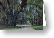 Live Oak Trees Greeting Cards - Spanish Moss Greeting Card by Billie Colson