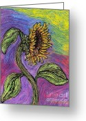 Happy Drawings Greeting Cards - Spanish Sunflower Greeting Card by Sarah Loft