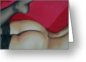 Nude Greeting Cards - Spank Me Greeting Card by Jindra Noewi