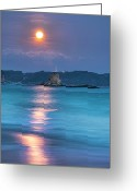 Full Moon Greeting Cards - Sparkle Of Orange (full Moon) Greeting Card by Tommy Tsutsui