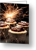 Fairy Photo Greeting Cards - Sparkler Cupcakes Greeting Card by Christopher Elwell and Amanda Haselock