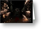 Pyrotechnics Greeting Cards - Sparkling bat Greeting Card by Agusti Pardo Rossello