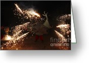Pyrotechnics Greeting Cards - Sparkling dragon Greeting Card by Agusti Pardo Rossello