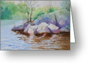 Lake With Reflections Greeting Cards - Sparkling water and Rocks Greeting Card by Peggy Hosford Masce