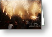 Pyrotechnics Greeting Cards - Sparks rain 2 Greeting Card by Agusti Pardo Rossello