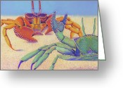 Crabs Greeting Cards - Sparring for Supper Greeting Card by Tracy L Teeter