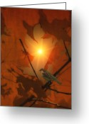 Sunset Wall Art Greeting Cards - Sparrow In The Leaves Greeting Card by Thomas York