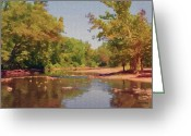 Reflected Tree Greeting Cards - Spavinaw Creek Greeting Card by Jeff Kolker
