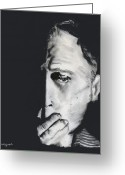 Man Pastels Greeting Cards - Speak No Evil Greeting Card by Arline Wagner