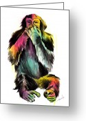 Hear Greeting Cards - Speak No Evil Greeting Card by Matt Truiano