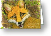 Animal Portrait Pastels Greeting Cards - Speaking Fox Greeting Card by Laura Brightwood