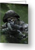 Gun Barrel Greeting Cards - Special Operations Forces Soldier Greeting Card by Tom Weber
