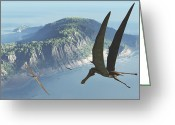 Pterodactyl Greeting Cards - Species From The Genus Anhanguera Soar Greeting Card by Walter Myers