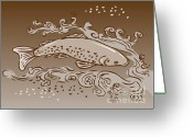 Trout Digital Art Greeting Cards - Speckled Trout Fish Greeting Card by Aloysius Patrimonio