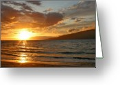 Tropical Island Greeting Cards - Spectacular Kihei sunset maui hawaii Greeting Card by Pierre Leclerc