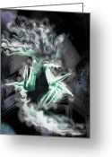 Ghostly Greeting Cards - Spectral Invitation Greeting Card by Mimulux patricia no