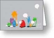 Monster Digital Art Greeting Cards - Speech Bubble Greeting Card by Budi Satria Kwan