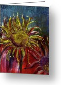 Flower. Petals Pastels Greeting Cards - Spent Sunflower Greeting Card by David Patterson