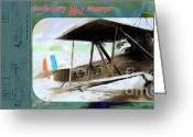 Bi Plane Greeting Cards - Sperry Messenger Greeting Card by Arne Hansen