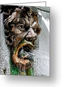 Christopher Holmes Greeting Cards - Spewing Greeting Card by Christopher Holmes