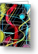 Pen Pastels Greeting Cards - Spheres Grid Drawing Greeting Card by Dennis Staples