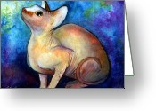 Custom Sphynx Portrait Greeting Cards - Sphynx Cat 5 painting Greeting Card by Svetlana Novikova