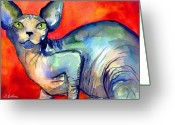 Commissioned Greeting Cards - Sphynx Cat 6 painting Greeting Card by Svetlana Novikova