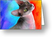 Custom Sphynx Portrait Greeting Cards - Sphynx Cat painting Greeting Card by Svetlana Novikova