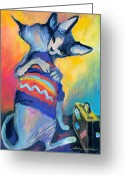 Custom Sphynx Portrait Greeting Cards - Sphynx Cats Friends Greeting Card by Svetlana Novikova