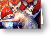 Commissioned Greeting Cards - Sphynx cats sphinx family painting  Greeting Card by Svetlana Novikova