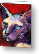 Contemporary Dog Portraits Greeting Cards - Sphynx sphinx cat painting  Greeting Card by Svetlana Novikova