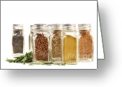 Chili Greeting Cards - Spice jars with fresh rosmary leaves against white Greeting Card by Sandra Cunningham