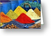 Spice Painting Greeting Cards - Spice Market in Casablanca Greeting Card by Dominic Piperata