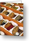 Fabric Greeting Cards - Spices on the market Greeting Card by Elena Elisseeva