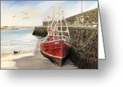 River Pastels Greeting Cards - Spiddal harbour Greeting Card by Vanda Luddy