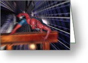 Spider Man Greeting Cards - Spider Man in Action Greeting Card by Douglas Barnard