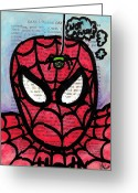 Spider Man Greeting Cards - Spider Mr Uh Oh Greeting Card by Jera Sky
