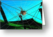 Poster Greeting Cards - Spider on the olympic roof Greeting Card by Helmut Rottler