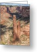Sacred Photo Greeting Cards - Spider Rock - Canyon De Chelly Greeting Card by Sandra Bronstein