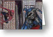 Batman Greeting Cards - Spiderman VS. Batman Greeting Card by Claudia Gonzalez