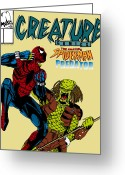 Comic. Marvel Greeting Cards - Spiderman vs Predator Greeting Card by Mista Perez Cartoon Art