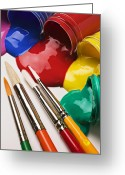 Brushes Greeting Cards - Spilt paint and brushes  Greeting Card by Garry Gay